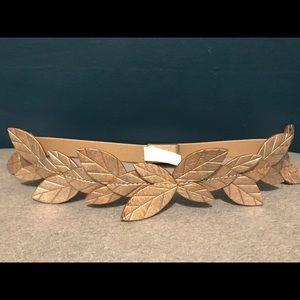 Gold leaf leather anthropologist belt